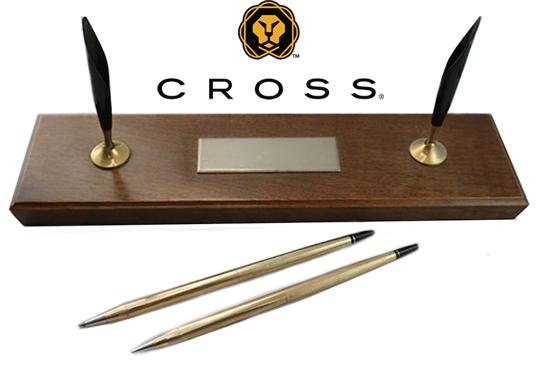 CROSS  Double Desk Set Walnut Finish